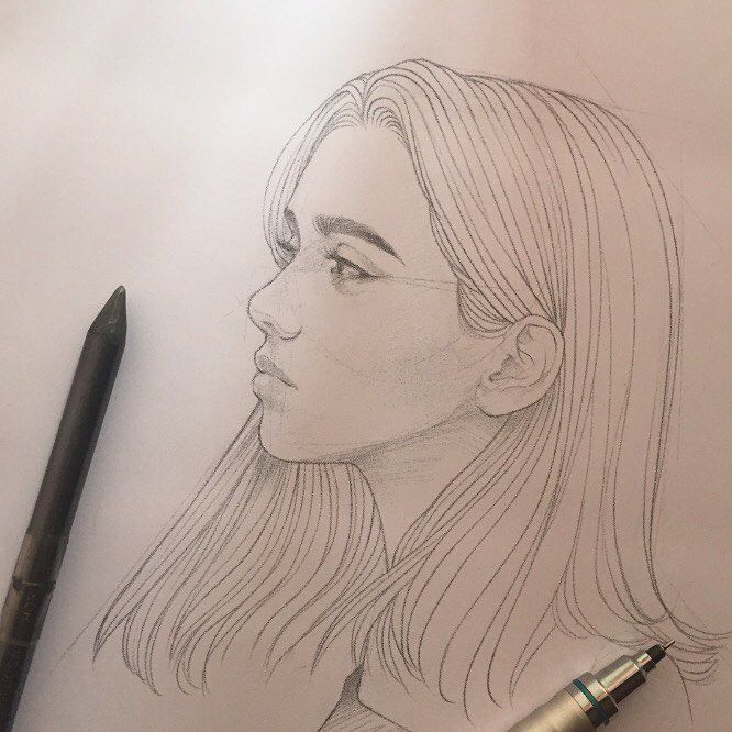 "@zukellogs on Instagram: ""Quick morning sketcho🖌 Golden slumbers📀  #sketch #design #art #pencil #portrait"