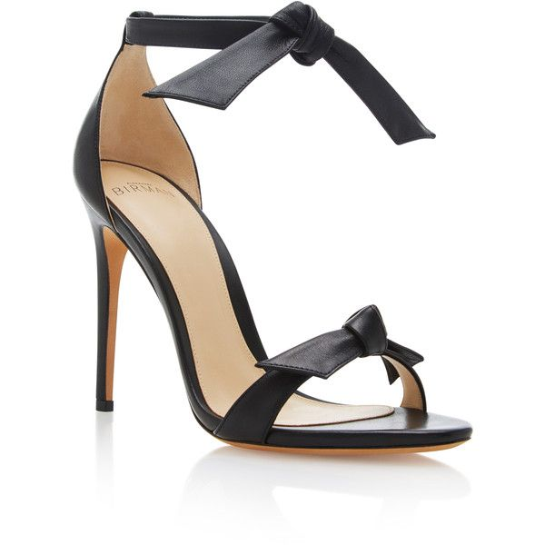 Alexandre Birman     Clarita Leather Sandals ($595) ❤ liked on Polyvore featuring shoes, sandals, heels, black, black heeled sandals, tie sandals, black heeled shoes, black sandals and heeled sandals