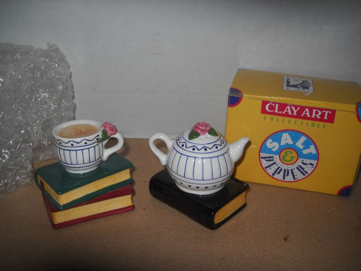 "Vintage Collectible Salt & Pepper Shakers by ""Clay Art"" Booked Up,  NEW"