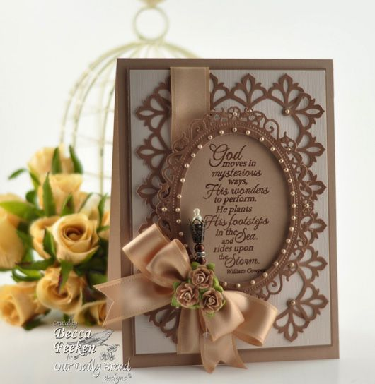 Love the gorgeous dies that she used here.  The pearl accents and ribbon are a great finishing touch