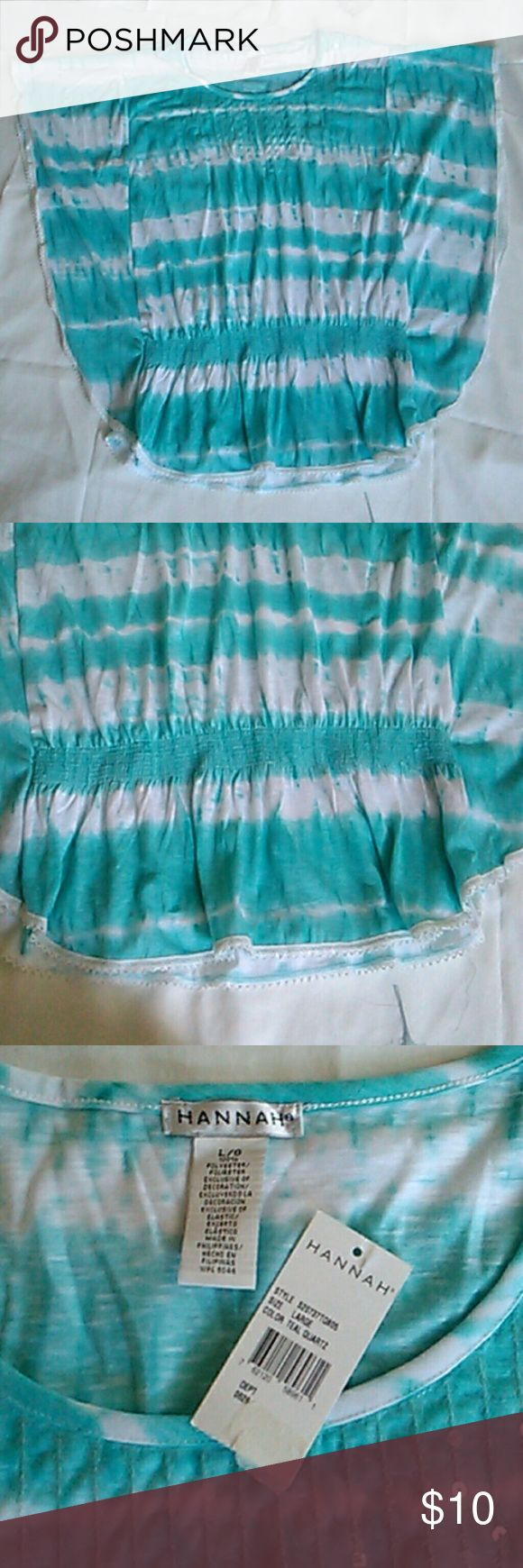 Blouse Batwing Tie-dye New with tags. Hannah Batwing blue and white tie-dye shirt.  Elastic around the waist. Clear sequins at top of shirt. Hannah Tops Blouses