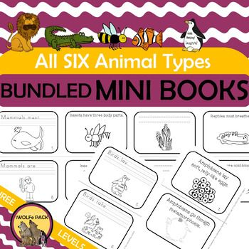This product contains ONLY the CHARACTERISITCS LIST and MINI BOOKS for all six animal groups {Mammals, Birds, Reptiles, Insects, Amphibians and Fish.} There are three versions of MINI BOOKS for each animal. If you download my MAMMAL FREEbie {found in the preview as well}, you'll see exactly what is included for
