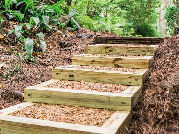 How to Build Outdoor Wood Steps | how-tos | DIY >> http://www.diynetwork.com/how-to/outdoors/structures/how-to-build-outdoor-wood-steps?soc=pinterest