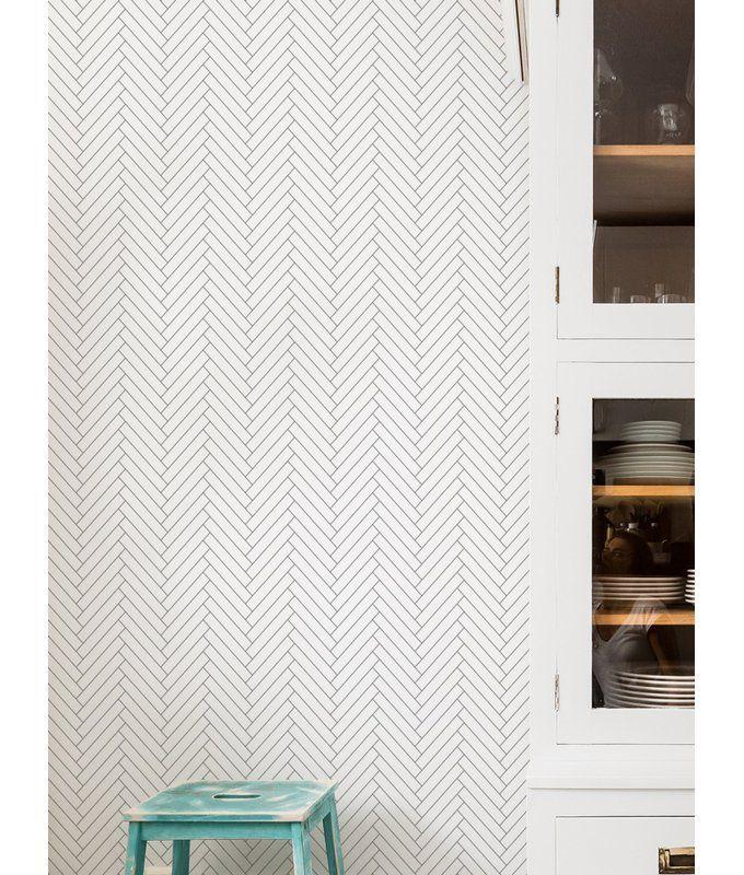 Nika Herringbone 4 L X 24 W Tile Peel And Stick Wallpaper Roll Bathroom Wallpaper Trends Bathroom Wallpaper Peel And Stick Wallpaper