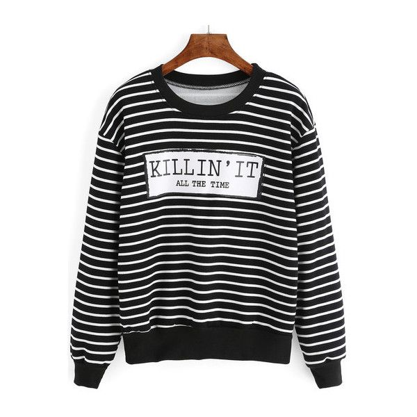 SheIn(sheinside) Black White Letters Print Striped Sweatshirt ($14) ❤ liked on Polyvore featuring tops, hoodies, sweatshirts, multicolor, shein, sweaters, striped sweatshirt, long sleeve sweatshirt, patterned sweatshirt and black and white tops