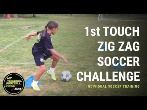 U8 - U12 Invidual Soccer Skills Training - 1st Touch Zig Zag Soccer Challenge - My Personal Football Coach