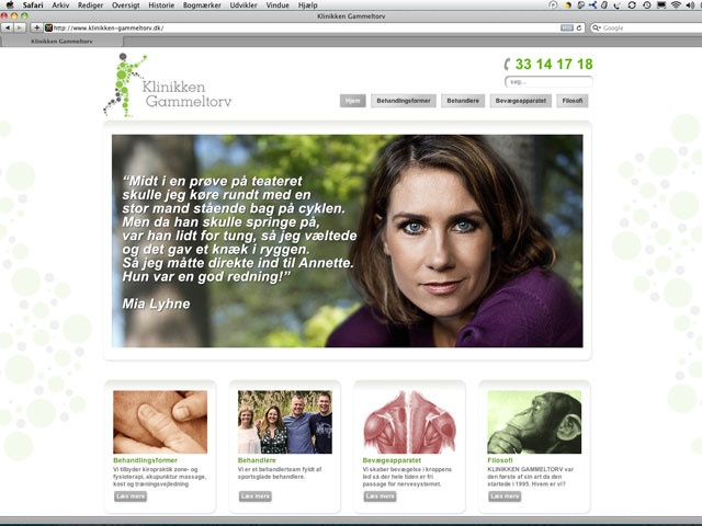 Website design for the Clinic Gammeltorv (a chiropractic and sports medicine clinic)