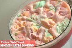 Ingredients:      Sprite/Sierra Mist     Hawaiian Punch     Rainbow Sherbet  Directions:      Mix equal parts Sprite and/or Sierra Mist with Hawaiian Punch.     Then, top it with the rainbow sherbet ice cream and serve.