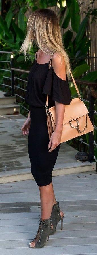 Black Off Shoulder Top, Black Midi Skirt, Apricot Chloé Bag, Khaki Suede Lace Up Heels  By Kiki