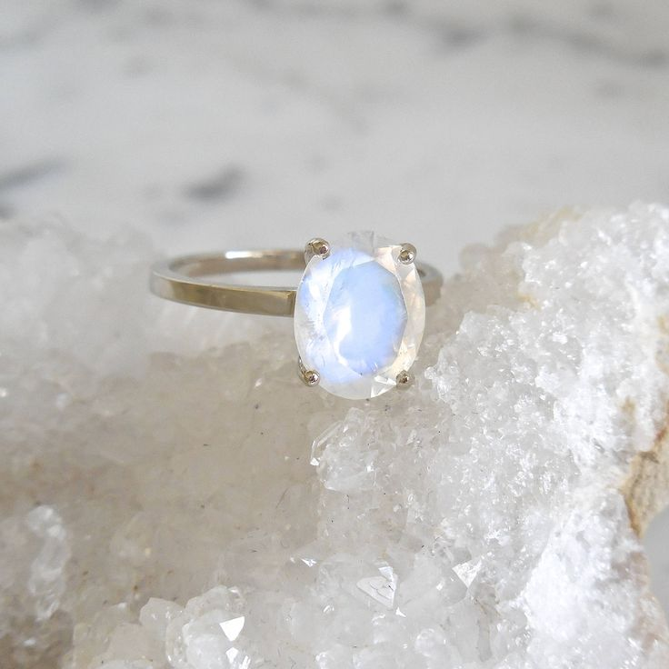 Moonstone Engagement Ring - Oval Moonstone, Moonstone Ring, Solitaire, June Birthstone, Rainbow Moonstone, Blue Moon by JewelLUXE on Etsy https://www.etsy.com/listing/532635957/moonstone-engagement-ring-oval-moonstone