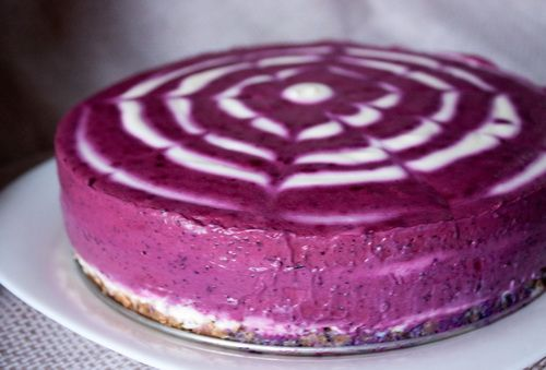 Blueberry cake tvorozniy no bake