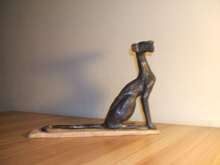 ceramic statue - Black Oriental Cat