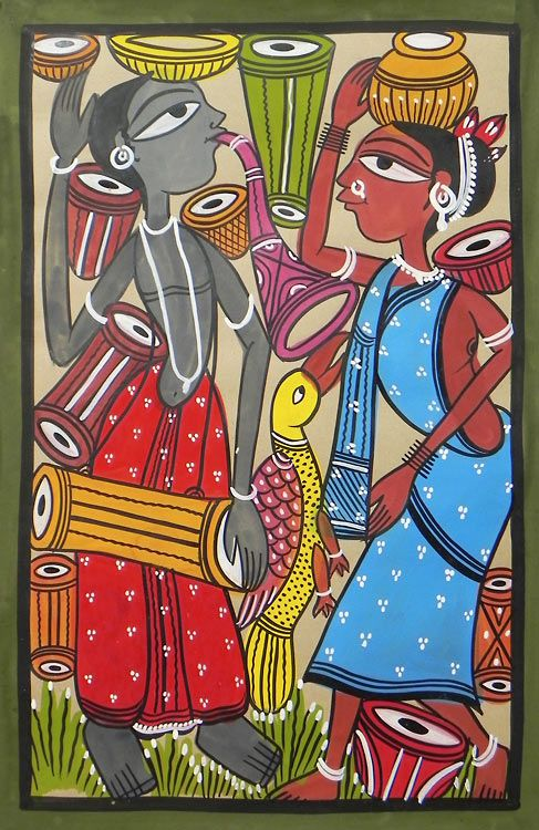 Expression of Love (Kalighat Painting - Water Color on Paper - Unframed))
