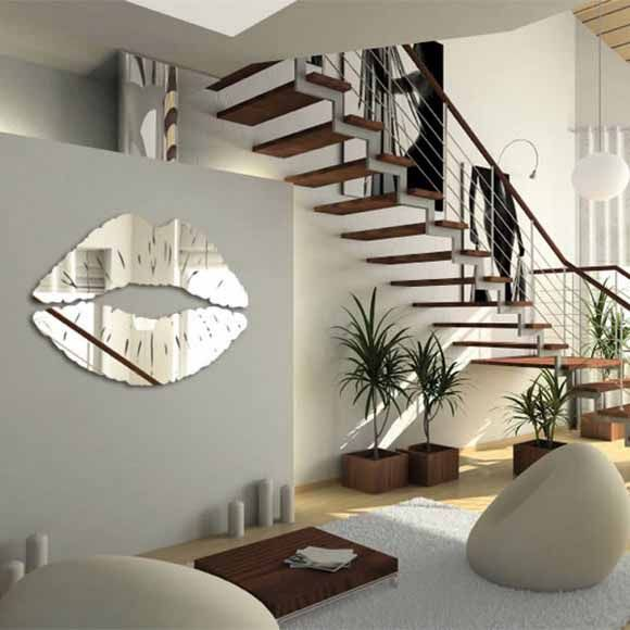 mirror sticker wall decor ideas for spacious room design - Mirror Wall Designs