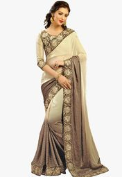 Admyrin Golden Embroidered Saree Online Shopping Store