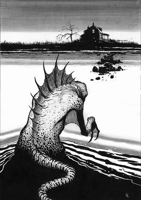 Weird Shadows Over Innsmouth - The Deep One | Les Edwards | One of four artworks commissioned by Fredogan & Bremer for their second Lovecraftian anthology edited by Stephen Jones. Includes stories by Brian Lumley, Hugh B. Cave, Paul McAuley and Kim Newman.  This series of drawings is a rare excursion for me into black and white drawing. Any chance to illustrate Lovecraft is to be jumped at.