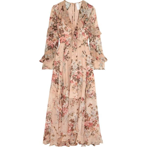 Zimmermann Aerial ruffled floral-print silk-georgette dress found on Polyvore featuring dresses, multi colored maxi dresses, floral print maxi dress, floral dresses, flutter-sleeve dress and ruffle hem dress