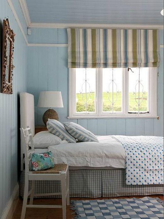 blue bedroom in beach house