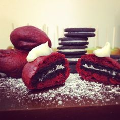 Red Velvet Deep Fried Oreos: These were such a fun novely food item to have at our carnival party. They were super easy to make-just dip oreos into red velvet cake mix and deep fry!