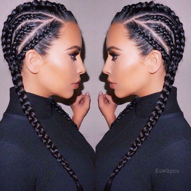 Groovy 15 Must See Kim Kardashian Braids Pins Kardashian Braids Short Hairstyles Gunalazisus