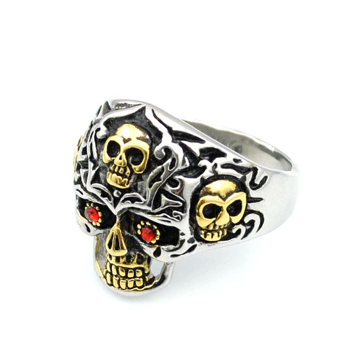 Retro Gothic Style Biker Motorcycle 14 Gold Plated Stainless Steel Skull Red Eye Skull Ring Men's Jewelry,AR413♦️ B E S T Online Marketplace - SaleVenue ♦️👉🏿 http://www.salevenue.co.uk/products/retro-gothic-style-biker-motorcycle-14-gold-plated-stainless-steel-skull-red-eye-skull-ring-mens-jewelryar413/ US $3.59