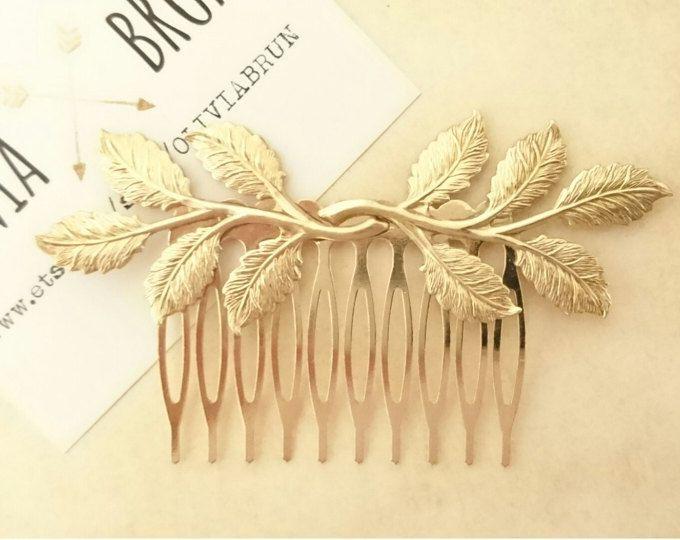 Hoja rama pelo peine hoja de oro pelo peine rama pelo peine boda pelo pedazo novia casco griego diosa griega