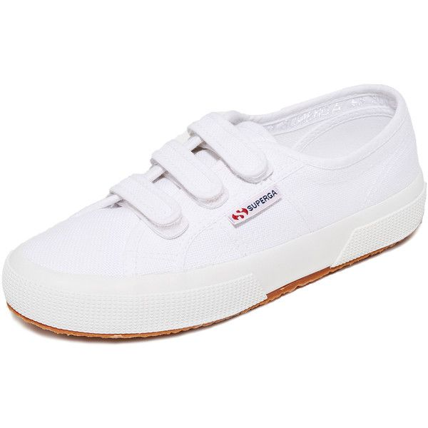 Superga 2750 Velcro Sneakers (4.525 RUB) ❤ liked on Polyvore featuring shoes, sneakers, white, crepe sole shoes, white velcro shoes, velcro strap shoes, canvas shoes and white trainers