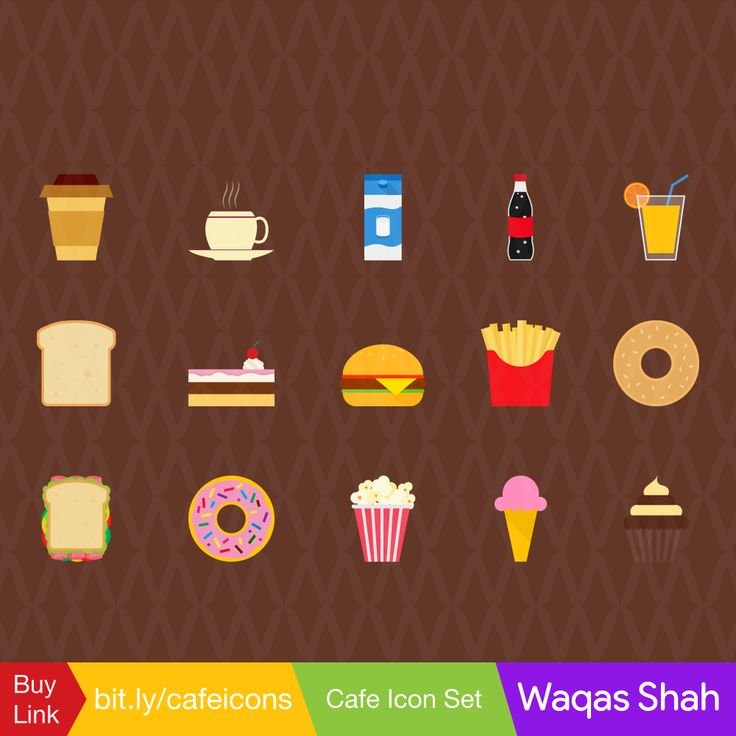 Cafe Icon Set #icons #vector #flat #Cafe