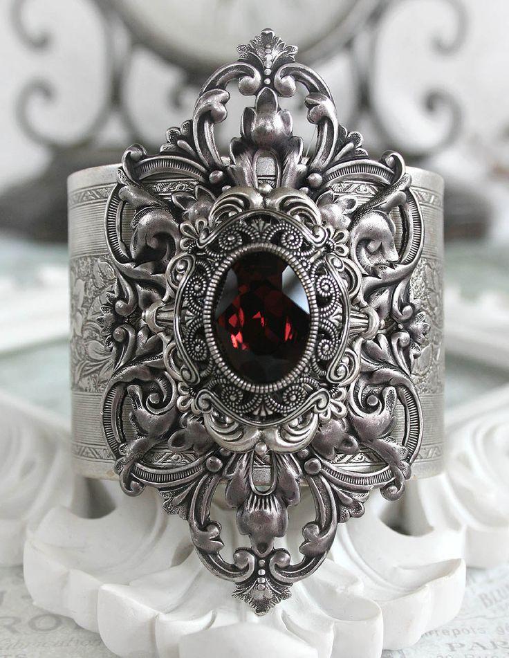JANUARYS PASSION Victorian vintage gothic cuff bracelet in aged silver with Swarovski garnet, January birthstone.