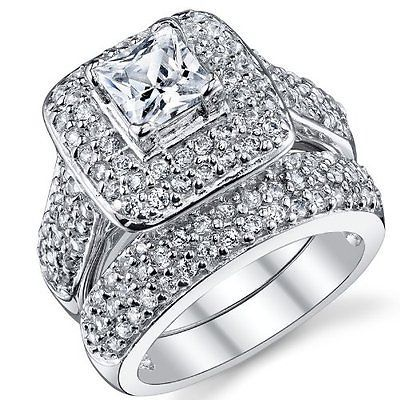 halo princess cz 925 sterling silver white gold plated wedding ring set sz 5 10 - Ebay Wedding Ring Sets