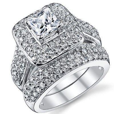 halo princess cz 925 sterling silver white gold plated wedding ring set sz 5 10 - Wedding Rings On Ebay