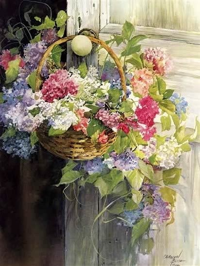 flower basket,May day,,May 1st..hang flowers on neighbor's doorknob ,knock and run,,,,what a nice surprise for them