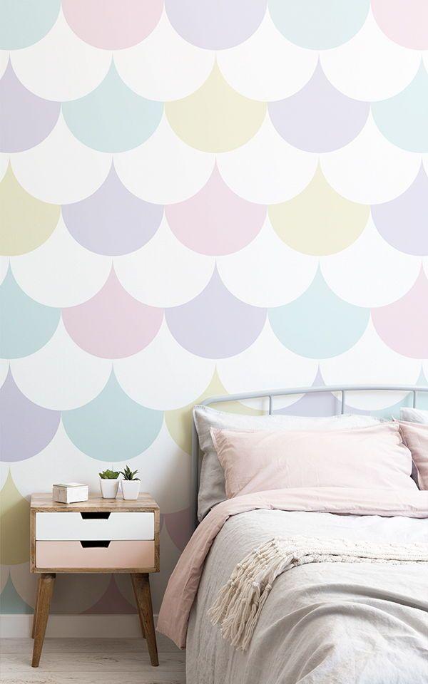 Pastel Pattern Geometric Wallpaper Mural Muralswallpaper In 2021 Girls Room Wallpaper Girl Bedroom Walls Girls Room Paint