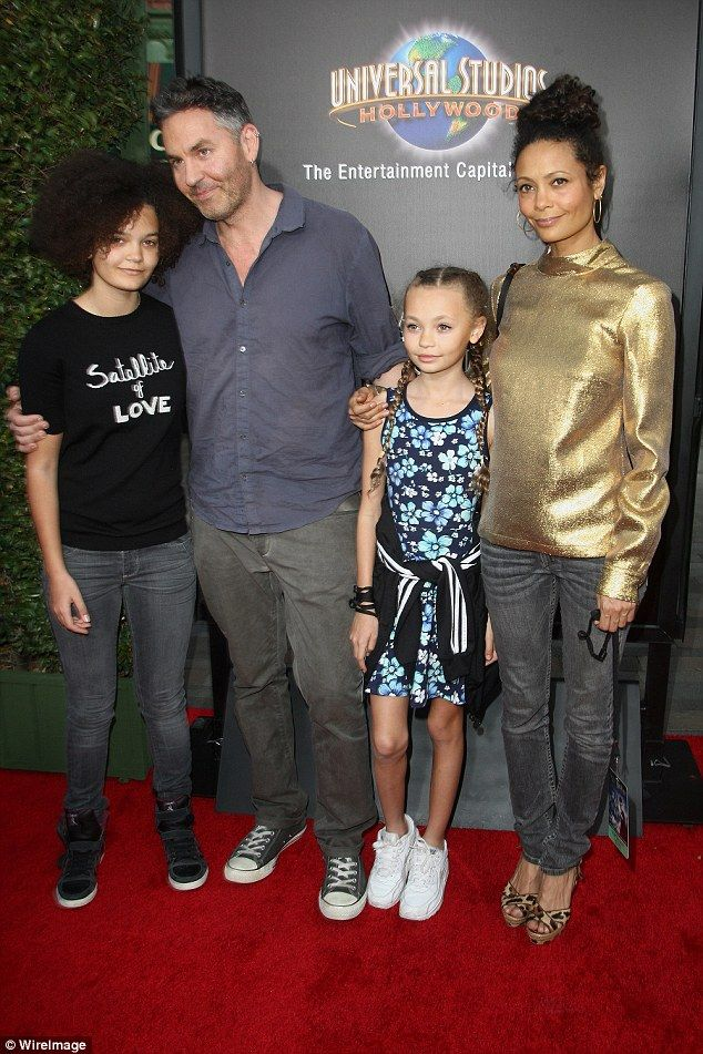 Happy family: The Welsh-born BAFTA-winner also has two daughters - Ripley 16, and Nico, 11 - with her English writer, director and producer husband Ol Parker (Pictured April 2005)
