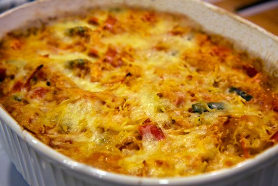 Spaghetti Squash Bake, Lots of veggies and baked cheese on top.  Yum