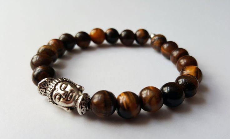 Unisex Genuine Tigers Eye Buddha Bracelet by Wild Lotus Jewellery