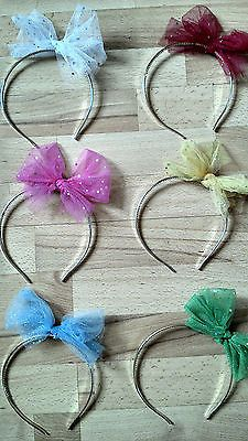 80s Alice Band Sparkly Tutu Bow Hen Party/Wedding Fascinator 6 Colours Available