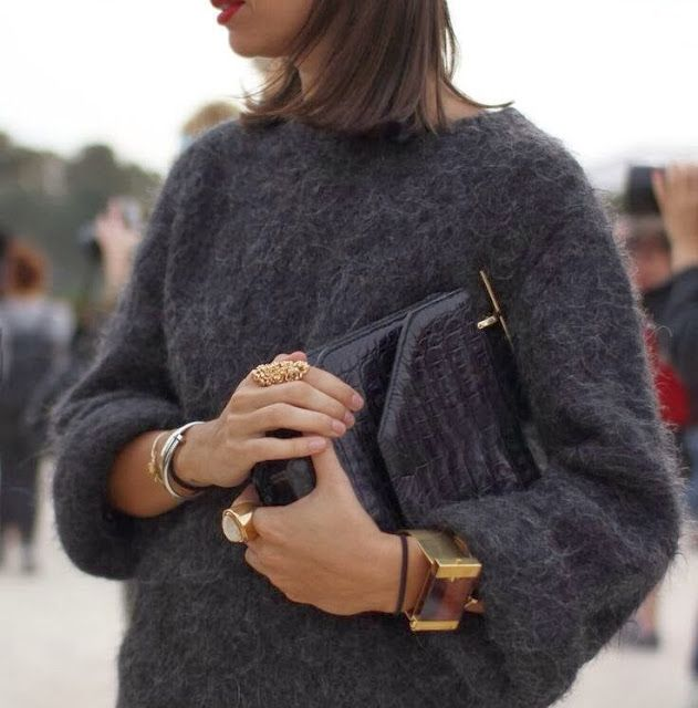 Classic sweater with statement accessories #style #fashion
