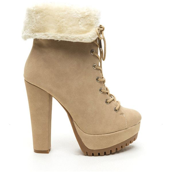 Fur Your Own Good Chunky Booties NUDE ($36) ❤ liked on Polyvore featuring shoes, boots, ankle booties, ankle boots, heels, tan, tan booties, high heel ankle boots, lace up platform booties and high heel bootie