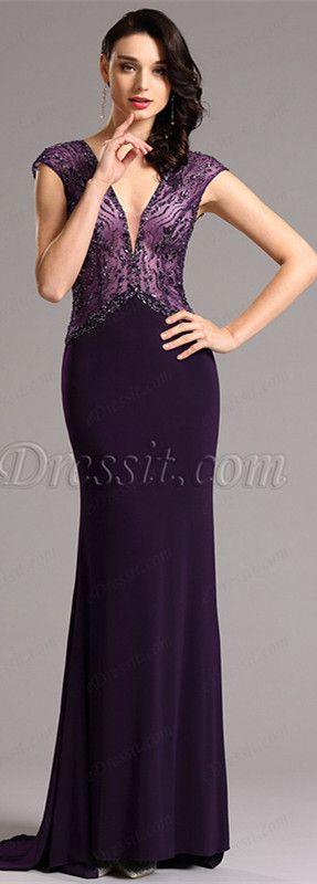 Plunging v neck purple formal dress! #edressit #formaldress #eveningdress…
