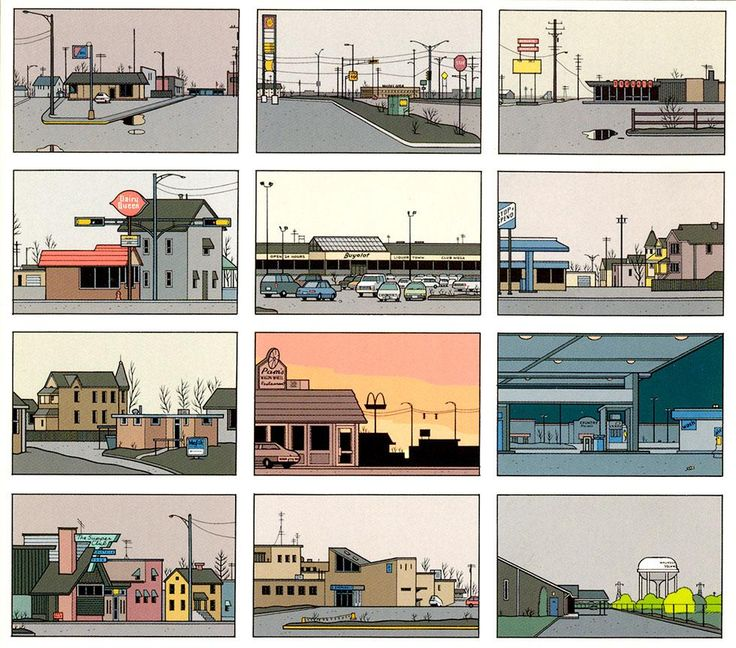 As a narrative artist, Chris Ware is interested in more than the appearances of people and places. His carefully rendered snapshots of roadside locales, is so real and so powerful, and so AMERICAN. So descriptive of America, that is. All of the work he does speaks to a very specific sense of observation, and it's all rendered in straight lines. Amazing.