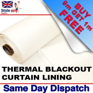 Thermal Blackout Curtain Lining Fabric 3 Pass White Material Sold Per Metre