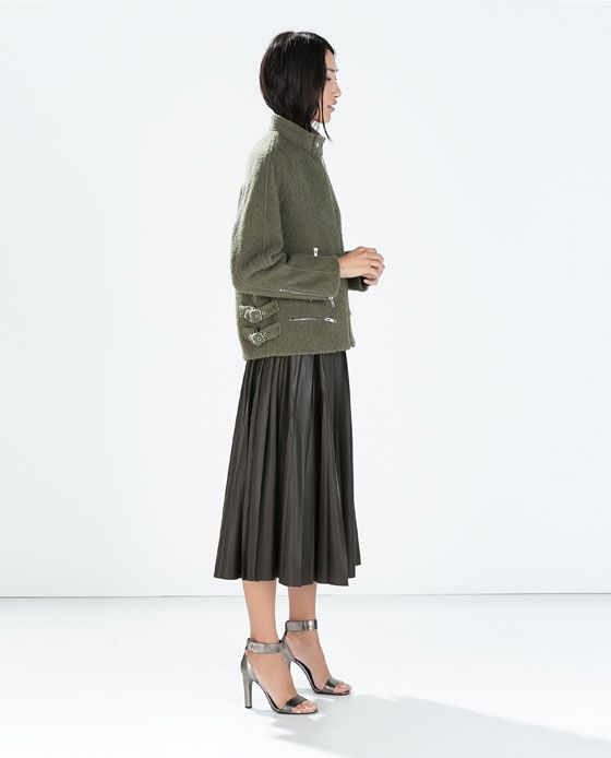 Image 1 of LEATHER-EFFECT LONG SKIRT from Zara