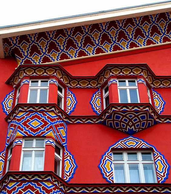 colourful house: red (Miklosiceva Street, old Ljubljana, Slovenia)