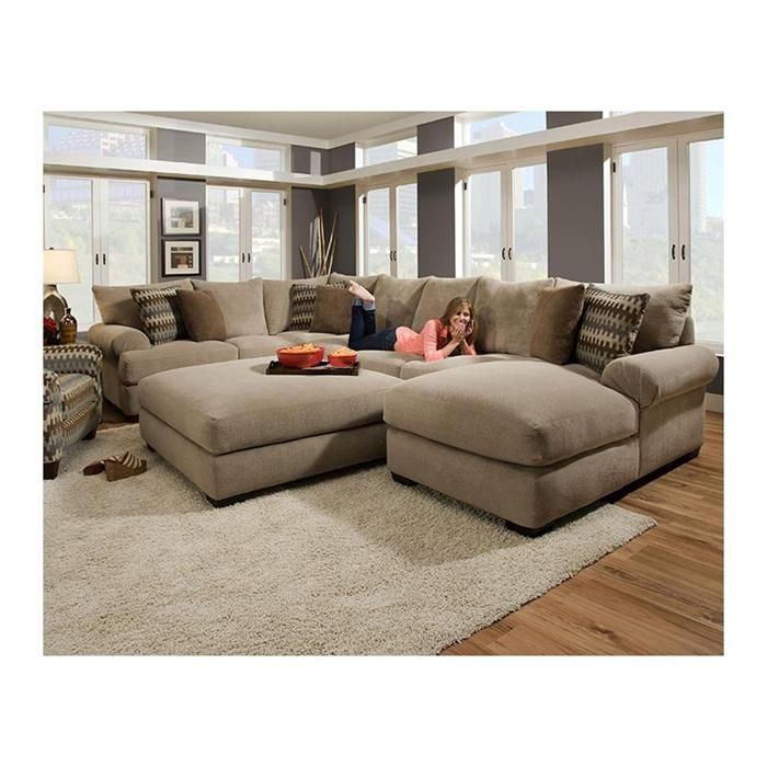 Best 3 Piece Sectional Sofa And Ottoman In Bacarat Taupe 400 x 300