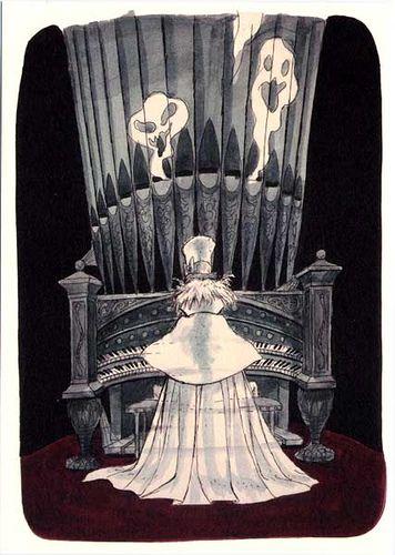 Disneyland Haunted Mansion Concept Art- Marc Davis - Organist Ghost