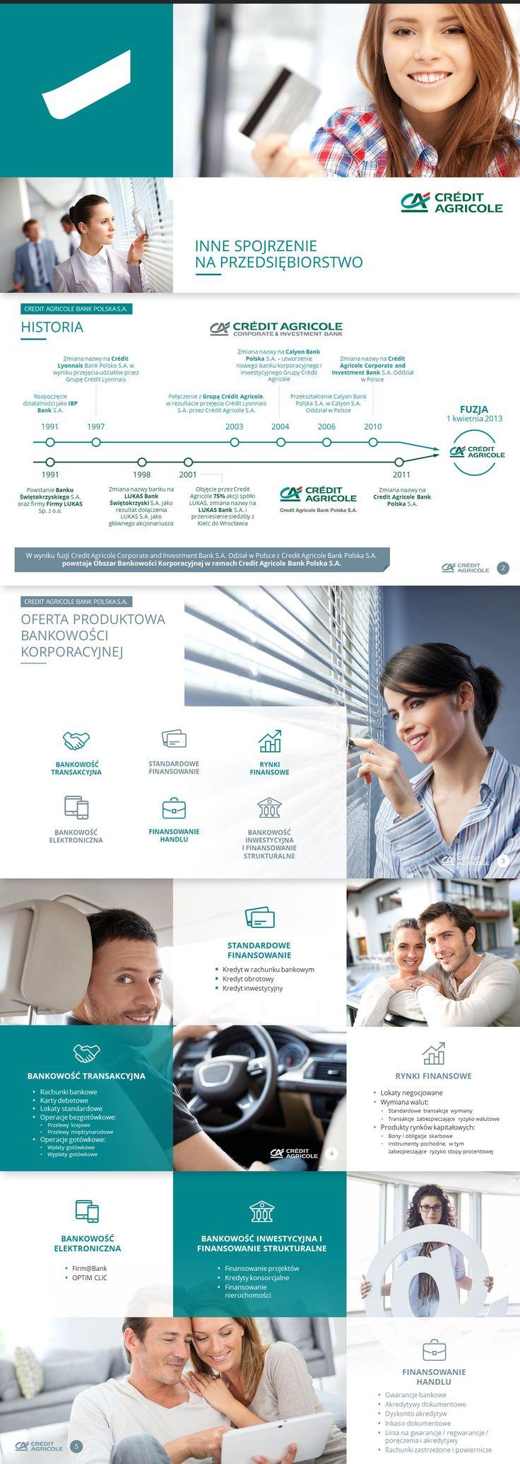Projekt prezentacji wykonany dla firmy Credit Agricole - prezentacja w Power Point. Zapraszamy na stronę http://www.powerprezentacje.pl żeby zobaczyć więcej tego typu profesjonalnych prezentacji.