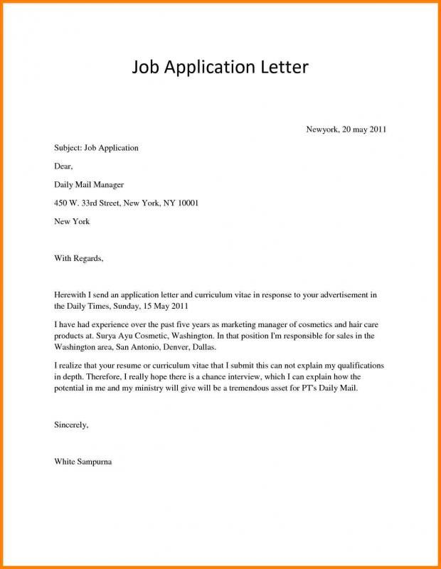 Job Application Letter template Pinterest Application letters