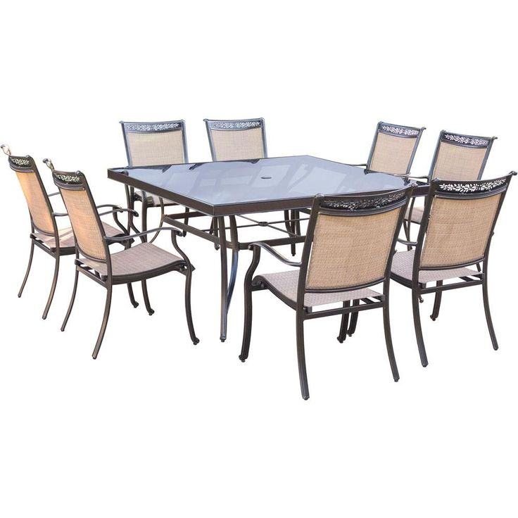"9pc Dining Set:60"" sq glass top tbl, 8 sling dining chairs, includes cover"