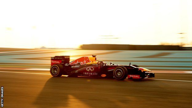 R 17: Red Bull's Sebastian Vettel dominated the Abu Dhabi Grand Prix to seal his seventh consecutive victory. Vettel, already world champion, led every lap as he beat his Red Bull team-mate Mark Webber, Mercedes' Nico Rosberg and Lotus's Romain Grosjean.